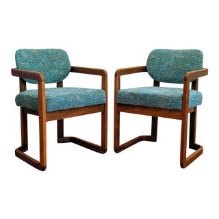 Vintage Oak Bentwood Style Accent Chairs - a Pair For Sale