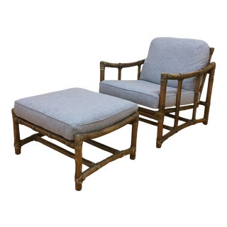 McGuire Vintage Lounge Chair and Matching Ottoman, New Upholstery For Sale