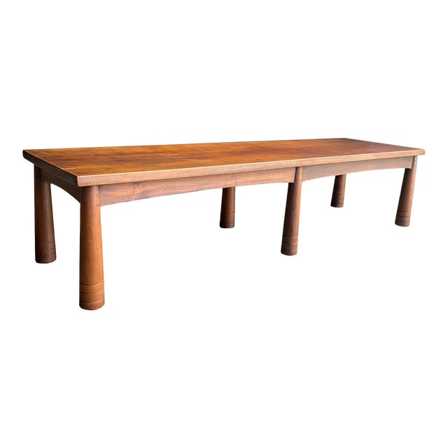 Mid Century Solid Teak Bench For Sale