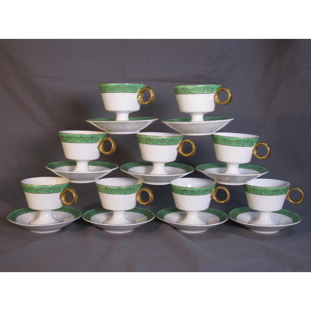 Ceramic Mid Century Demi-Tasse Cups & Saucers - Service for 9 For Sale - Image 7 of 7