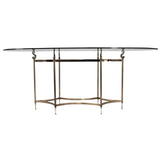 LaBarge Style Silver & Gold Oval Glass Dining Table For Sale