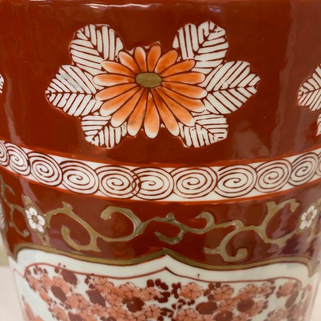 Brick Red Vintage Gold Imari Umbrella Stand Vase For Sale - Image 8 of 11
