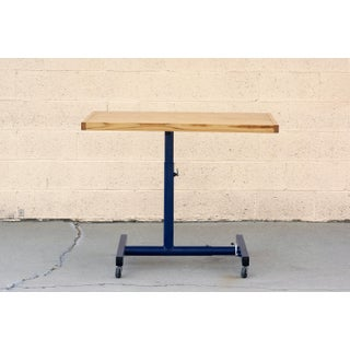 Vintage Industrial Standing Desk, Refinished in Midnight Blue Preview