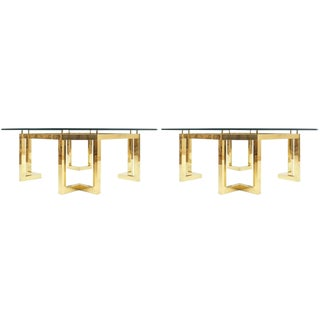 Large Brass Coffee Table Bases Attributed to Munchner Werkstätte, Germany, Pair For Sale