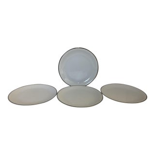 Vintage Noritake White & Platinum Trim Silverdale Pattern Set of 4 Plates For Sale