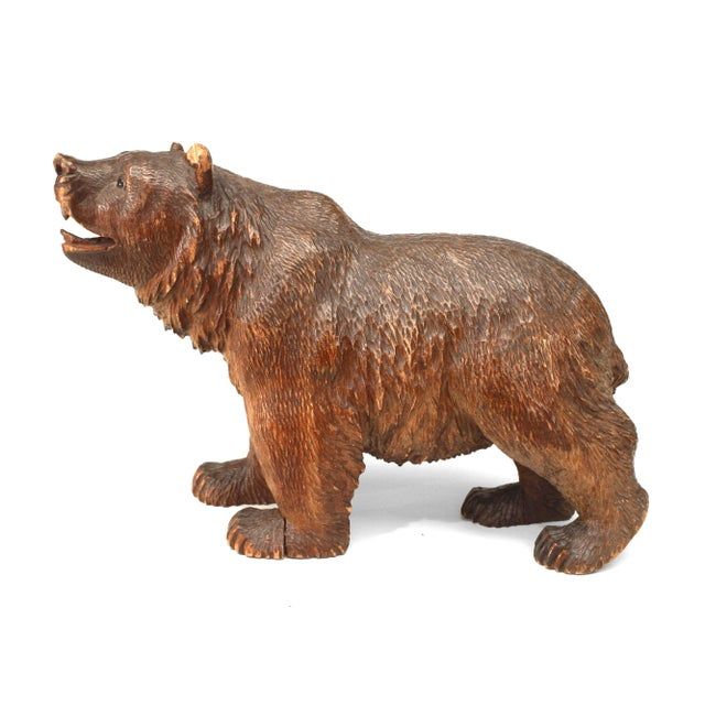 Small turn of the century Rustic Black Forest carved walnut figure of a walking bear with face pointed up (similar to...