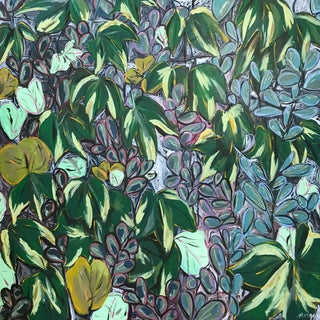 """Morgan Rollinson """"Ivy for Evelyn"""" Original Acrylic Painting With Oil Pastel on Wood"""