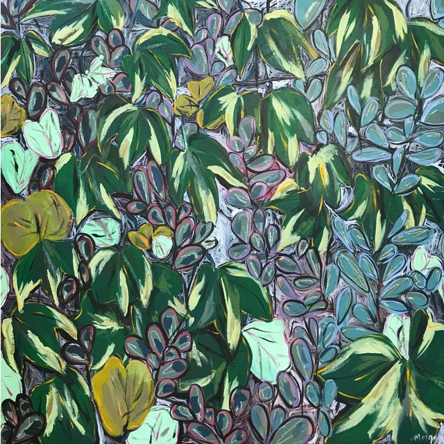 "Morgan Rollinson ""Ivy for Evelyn"" Original Acrylic Painting With Oil Pastel on Wood For Sale"