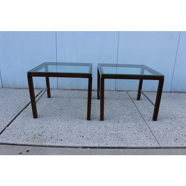 Modern 1970's Modern Chrome and Walnut Side Table For Sale - Image 3 of 8