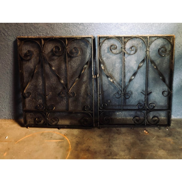 Antique Black Iron Fireplace Screens-A Pair For Sale - Image 10 of 10