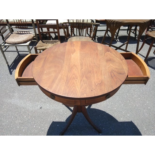 Neoclassical Revival 1950s Neoclassical Revival Mahogany Drum Table For Sale - Image 3 of 6