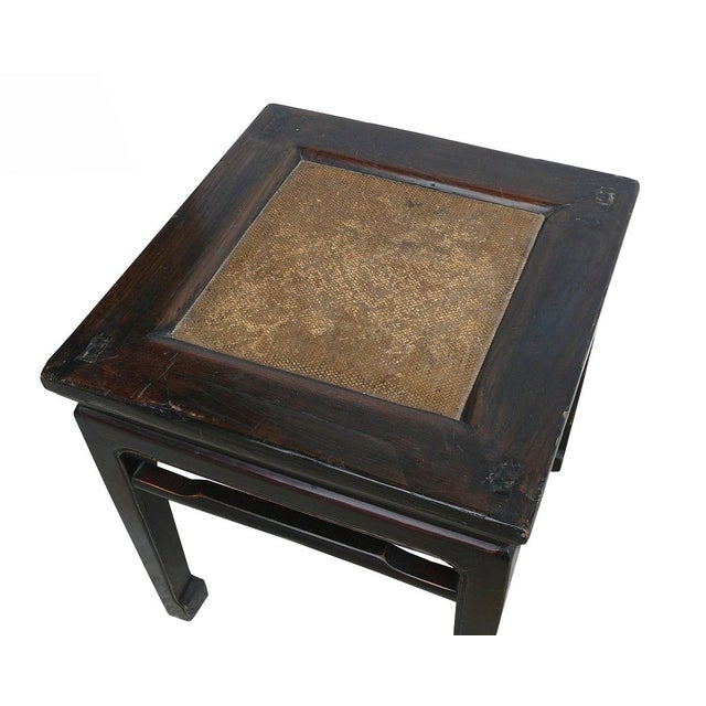 Asian Vintage Chinese Rattan Square Claw Legs Table Ottoman For Sale - Image 3 of 5