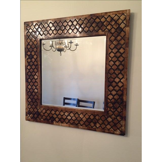 Moroccan Lattice Trellis Bone & Wood Wall Mirror - Image 3 of 4