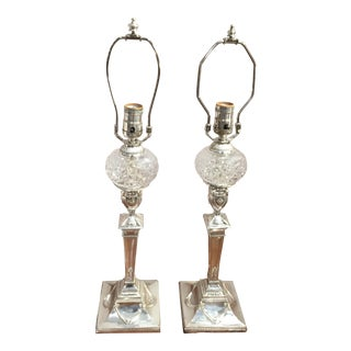 Sheffield Silver Plated Candlestick Lamps, a Pair