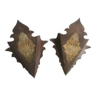 Moroccan Metal and Brass Sconces - A Pair For Sale