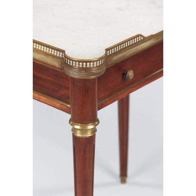 Louis XVI Style Marble-Top Rosewood Side/Serving Table, 1900s - Image 3 of 10