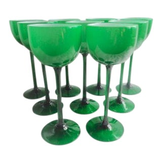Vintage Carlo Moretti Mid-Century Modern Cased Glass Green Wine Stems - Set of 9 For Sale