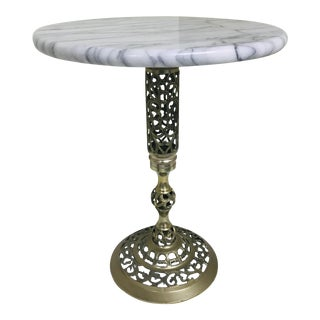 1960s Hollywood Regency Marble & Brass Petite Side Table For Sale