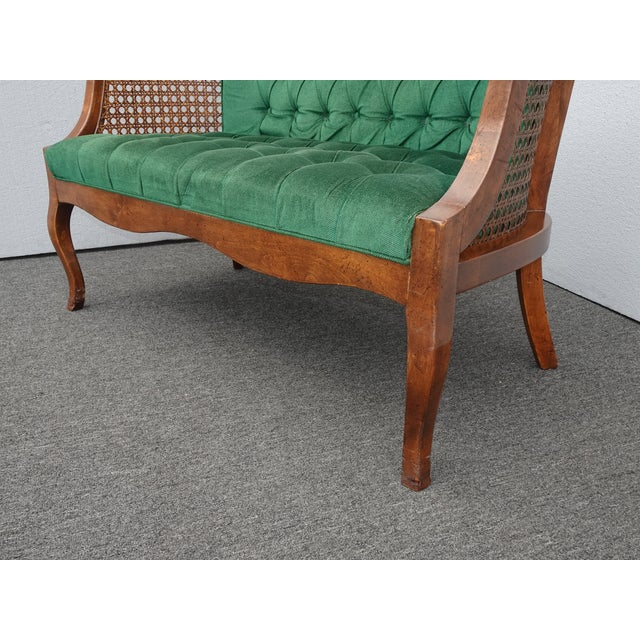 Vintage French Country Tufted Green Velvet Settee Loveseat W Cane #2 For Sale - Image 10 of 13