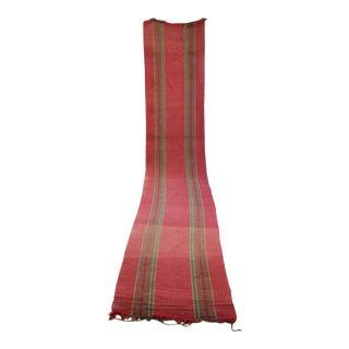 Rag Rug Vintage European Long Stair Runner Striped Red Hallway Carpet For Sale