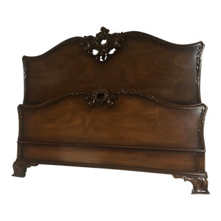 Antique Traditional Carved Walnut Full Size Bedframe For Sale