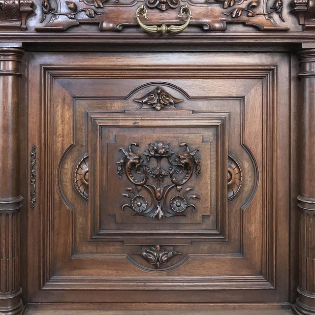 Metal 19th Century French Walnut Henri II Buffet For Sale - Image 7 of 13