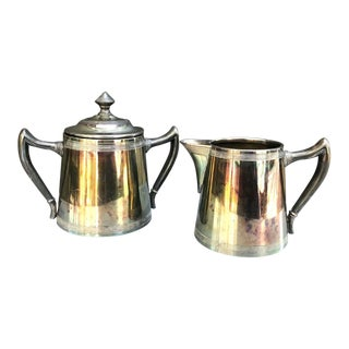 Art Deco Imperial Silver Cream and Sugar Set - 2 Piece Set For Sale