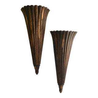 Very Large Spectacular Architectural Wooden Fluted and Scalloped Wall Pockets- a Pair For Sale