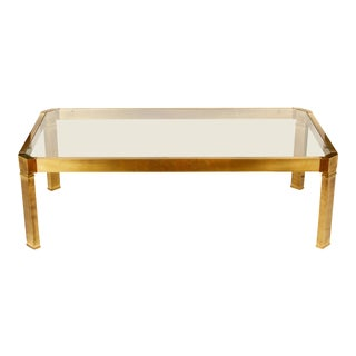 Octagonal Brass Mastercraft Style Coffee Table For Sale