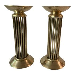 Vintage Brass Column Candlesticks For Sale