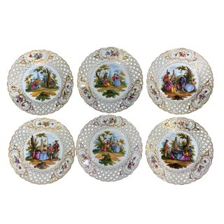Six Dresden Reticulated Painted Watteau Scenic Cabinet Plates by Carl Thieme For Sale