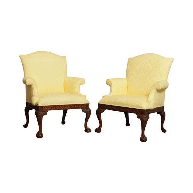 Ardsley Hall Fine Chippendale Style Ball & Claw Mahogany Pair Library Armchairs For Sale - Image 13 of 13