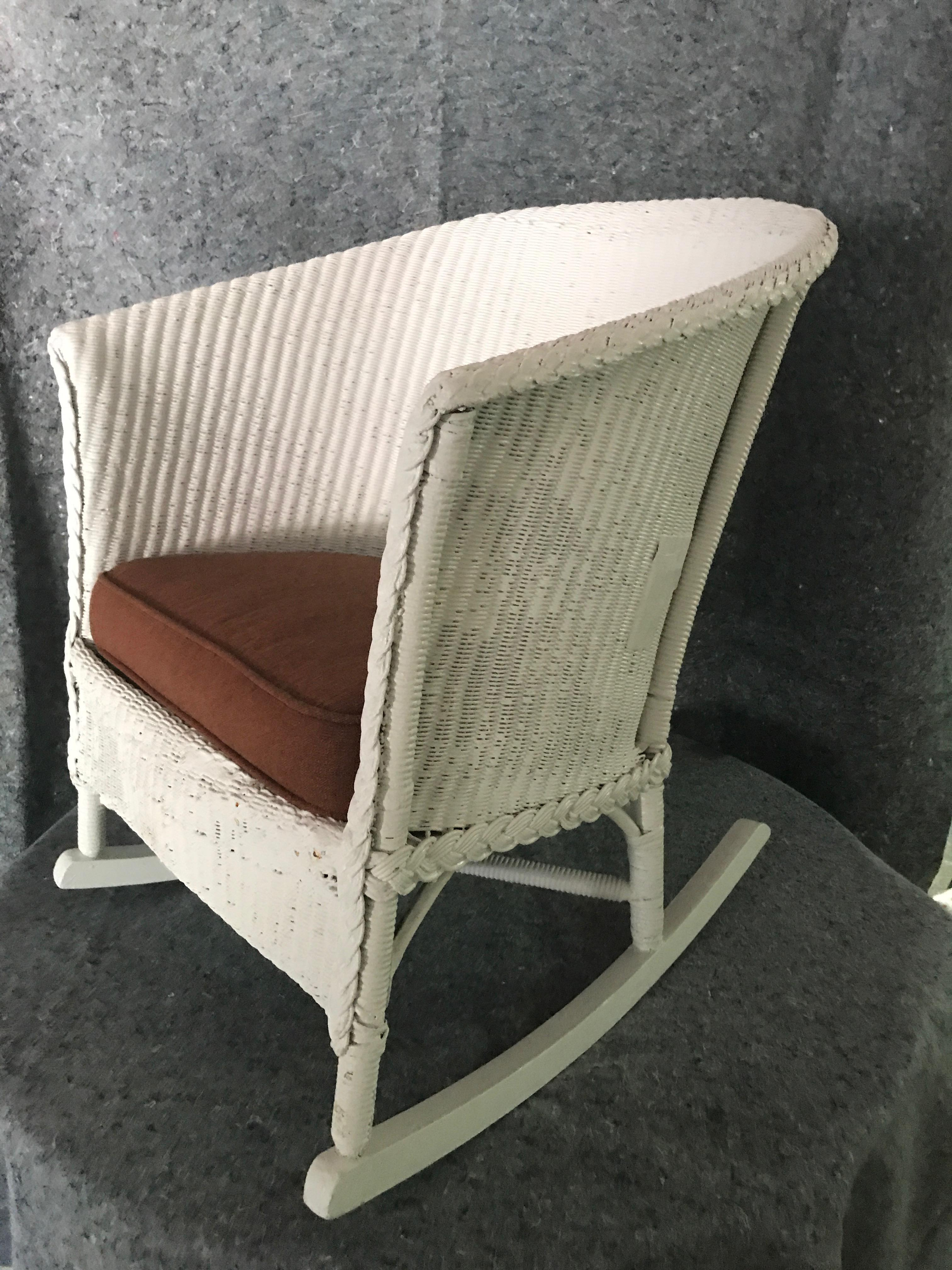 Lloyd Loom White Wicker Rocker With Upholstered Seat   Image 3 Of 4