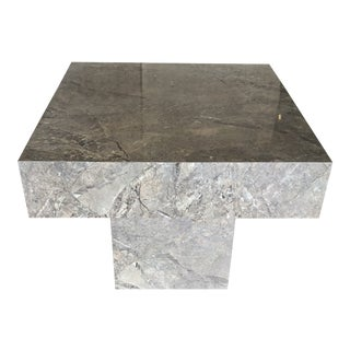 1980s Postmodern Faux Marble Cube Accent Table For Sale