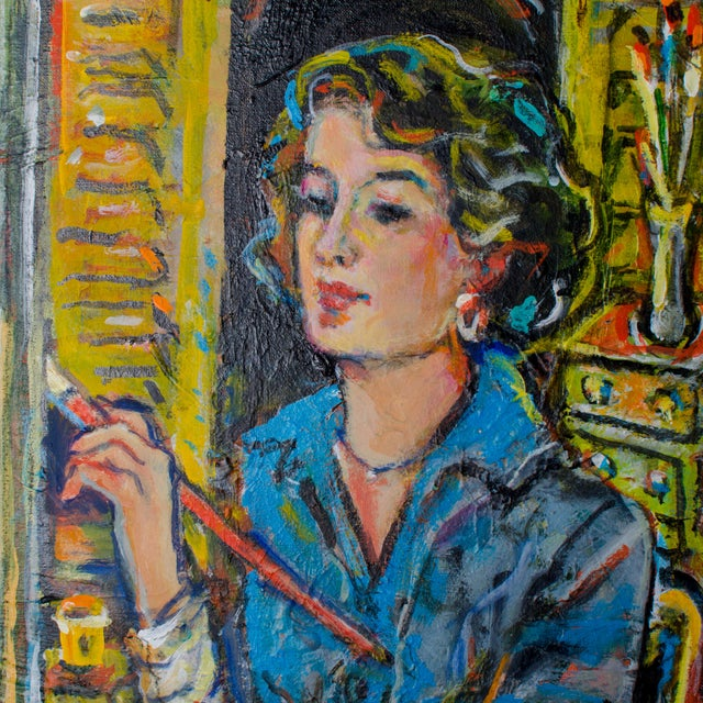"""Abstract Abstract Oil Painting on Canvas, """"Self-Portrait"""" by Suzanne McCullough Plowden For Sale - Image 3 of 4"""