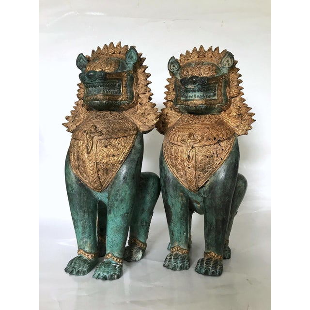 Green Thai Singha Temple Guardians/Dragons - a Pair For Sale - Image 8 of 9