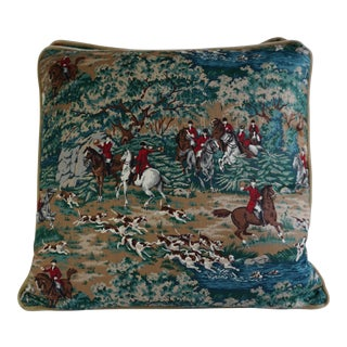 English Horse Hunting Printed Cotton Pillows- a Pair For Sale