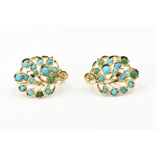 Turquoise & 14k Open Leaf Earrings Preview