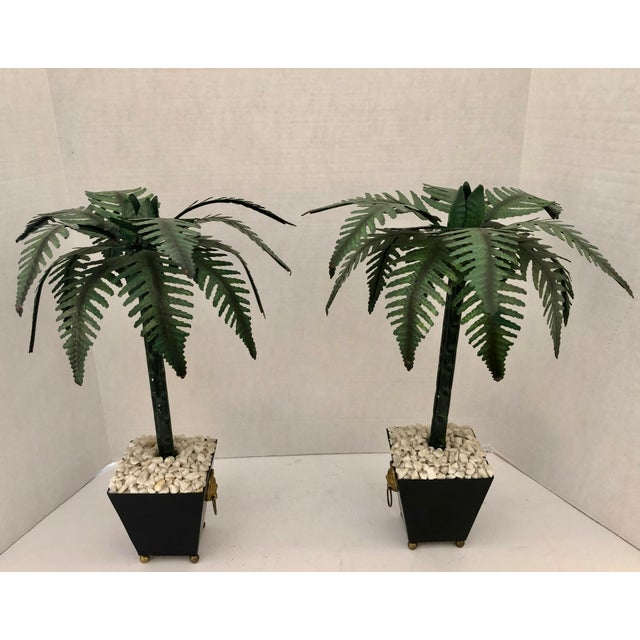 Hollywood Regency Tall Tole Painted Palm Tree Candlesticks Holders in Planters, A-Pair For Sale - Image 12 of 12