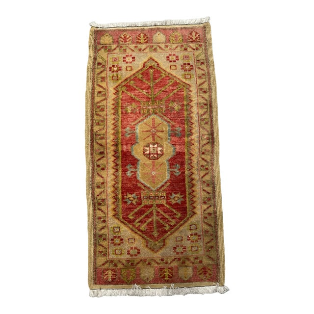 Vintage Garnet & Gold Shield Patterned Prayer Rug For Sale