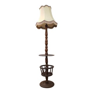 Early 20th Century Solid French Floor Lamp With Attached Table For Sale