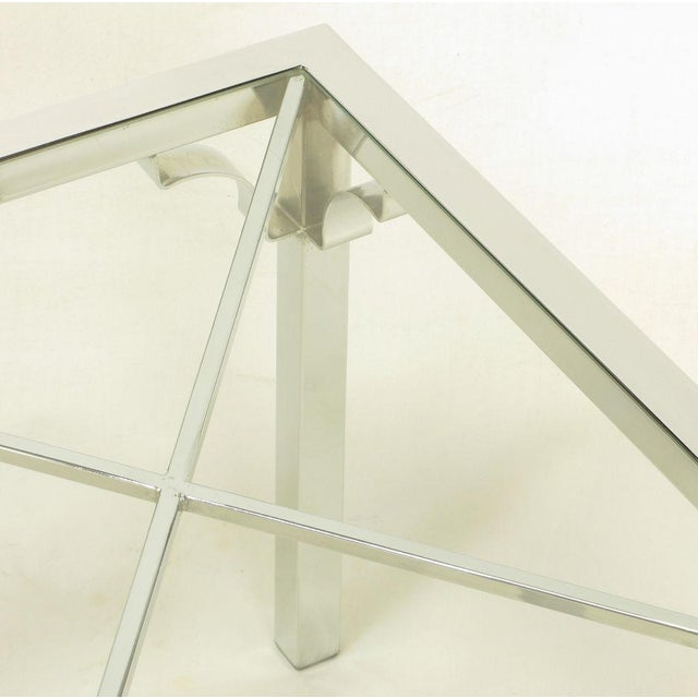 Chrome Parsons Style Chinese Chippendale X-Top End Table - Image 6 of 7
