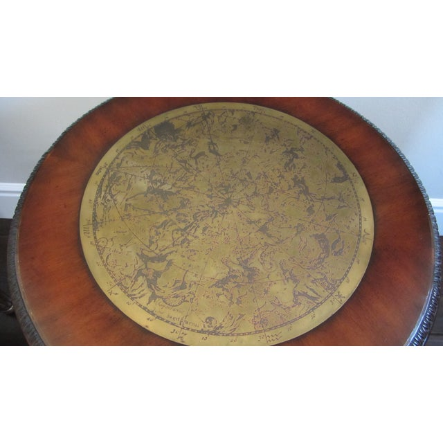 Pedestal End Table With Brass Map Inlay - Image 4 of 9