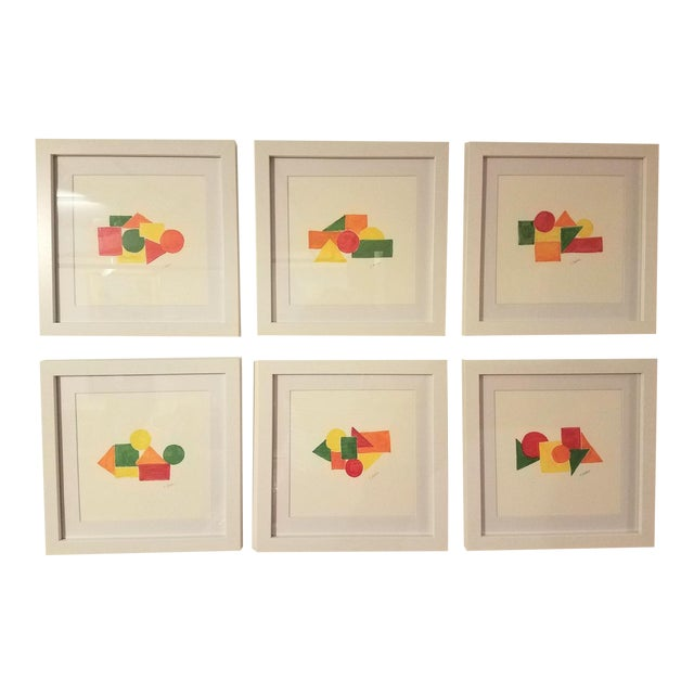 Geometric Hand Painted Framed Acrylics by Christine Frisbee - Set of 6 For Sale