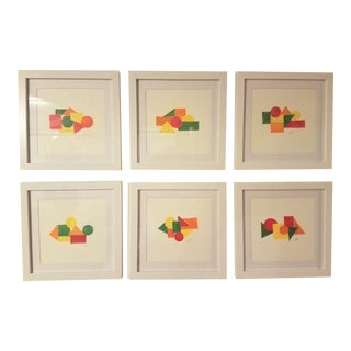Geometric Hand Painted Framed Prints by Christine Frisbee - Set of 6 For Sale