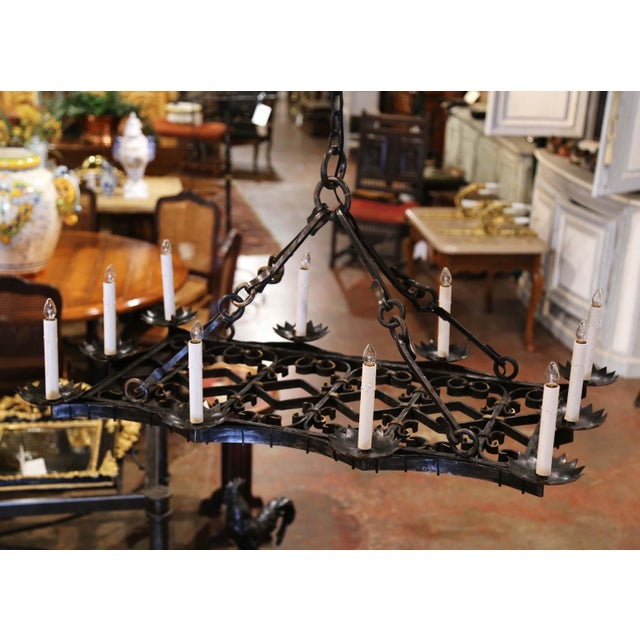 19th Century French Gothic Forged Iron Flat Bottom Ten-Light Chandelier For Sale - Image 4 of 13