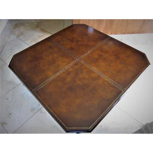 Wrought iron base leather top coffee table chairish Coffee table with leather top