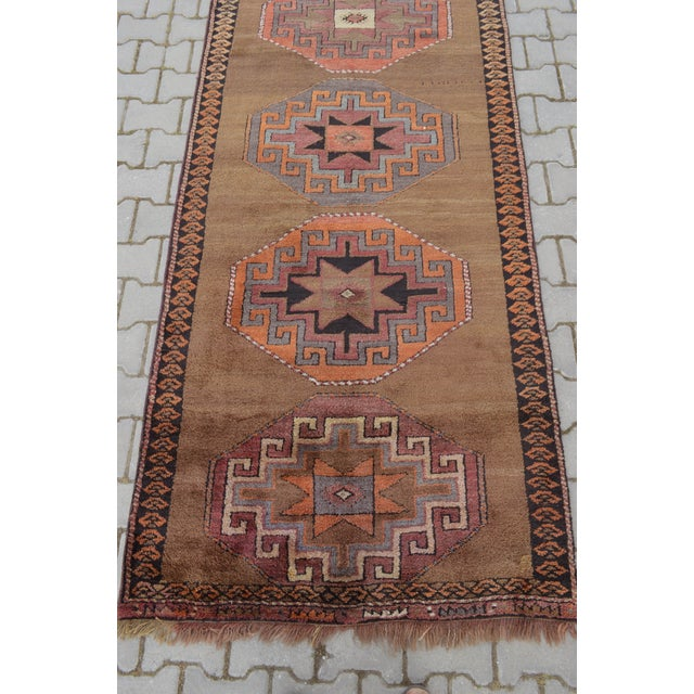 Hand Knotted Turkish Runner Rug - 3′7″ × 11′9″ - Image 8 of 9