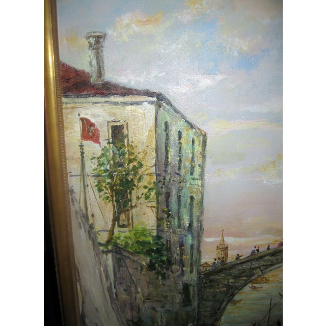 Late 20th Century Valerio Zerbo San Marco Piazza Large Oil Painting For Sale - Image 9 of 12