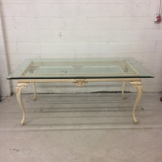 French Country Style Wood Glass Top Dining Table For Sale - Image 12 of 12